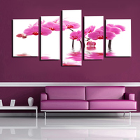 5 Panels HD Beautiful Pink orchid flower Wall pictures For Living Room Artwork painting on the wall cuadros decoracion SJ 102297