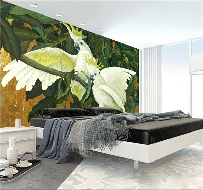 Desktop Wallpaper Hd 3d Custom Parrot Branches Printing Environment Friendly TV Background Restaurant Bedroom Decoration Wall