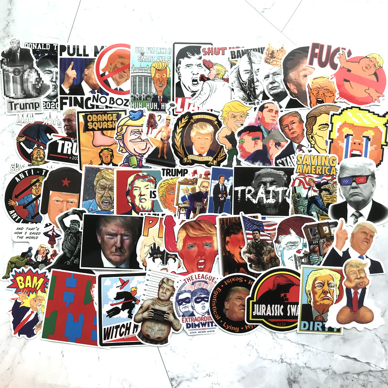 TD ZW 55Pcs/lot Cartoon Trump Stickers For Snowboard Laptop Luggage Car Fridge DIY Styling Vinyl Home Decor Pegatina