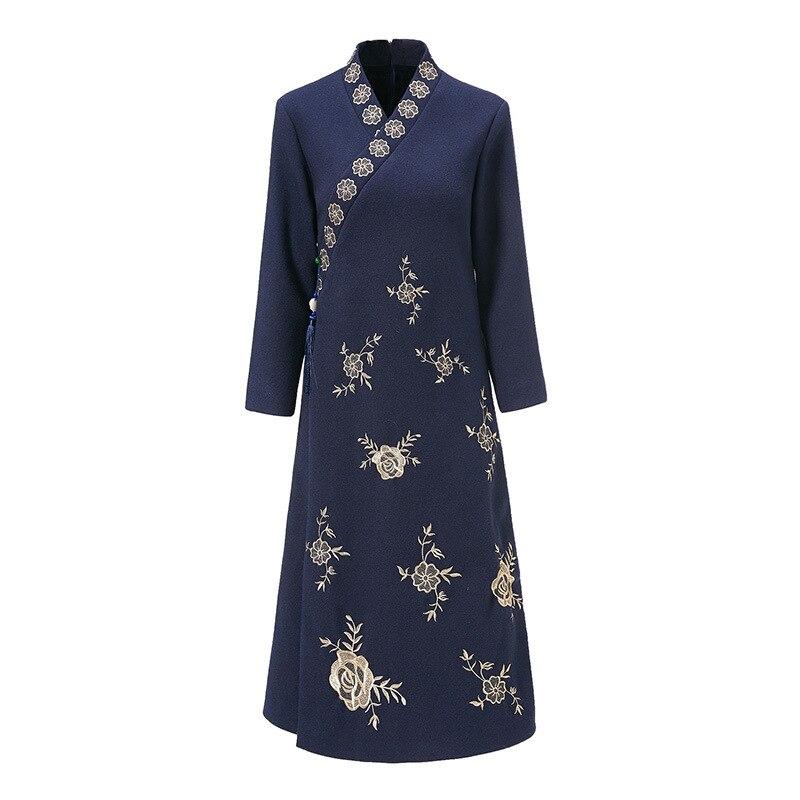 Rot Schwarz Robe Vintage Femme Herbst Mode Lange Kleid Ethnische Stickerei Vestido Lange Hülse Lose Beiläufige Kleid Cheongsam AA4563 - 6