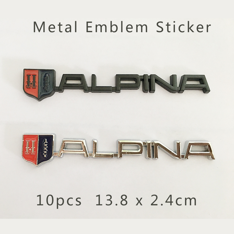 Wholesale Free Shipping 10pcs boot metal 3D Car Trunk Emblem auto Side rear trunk Badge stickers Auto accessories for Alpina