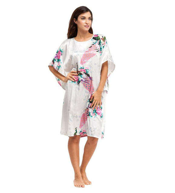 Promotion White Chinese Women Silk Nightgown Sexy Rayon Sleepshirt Summer  Robe Gown Home Lounge Dress Floral a5a2fc4c4