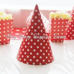 12 шт./лот в красный горошек вечерние шляпа Бумага праздничный колпак тема вечерние Свадебные День рождения, детский Душ Шляпа вечерние