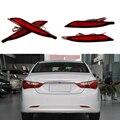 2 PCS Lens Red LED Rear Bumper Refletor de Luz para Hyundai sonata 8 Geração de Freio & BackupTail Fog Driving Lâmpada luzes