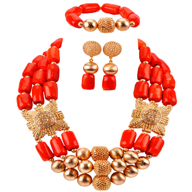 Latest Nigerian Wedding African Beads Jewelry Set Coral Beads Necklace Bridal Jewelry Sets CBS43