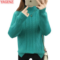 YAGENZ Loose Half Turtleneck Sweater Women Students Wild Pullovers Knit Tops Fashion Warm Thread Pattern Autumn