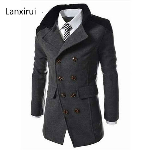 f41619ceb4e Hot Sale Autumn Long Wool Coat Men Fashion Turn-down Collar Wool Blend  Double Breasted