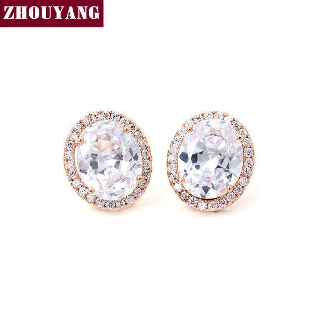 Top Quality ZYE765 Luxury Clear Crystal Earrings Rose Gold Color