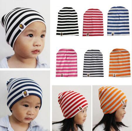 1 PCs Unisex Cotton Beanie Hat for NewBorn Cute Baby Boys/Girl Soft Toddler Infant Cap Striped Toddler Beanie Caps