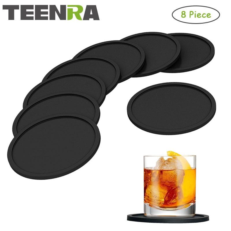 TEENRA 8Pcs შავი სილიკონის სასმელი Coaster Placemats მაგიდის მაგიდისთვის სადილის მაგიდაზე პლაკატური სილიკონის თასის ბალიშები მითითებული სამზარეულო