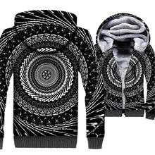 2019 Winter Warm Jacket Vertigo Hypnotic Men 3D Hoodies Thick Vortex Whirlpool Mens Sweatshirt Plus Size Paisley Coat For Adult