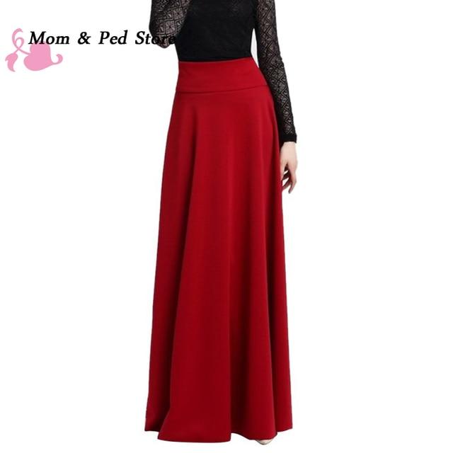 High Waist Pleat Elegant Skirt Wine Red Black Solid Color Long Skirts Women Faldas Saia 5XL Plus Size Ladies Jupe
