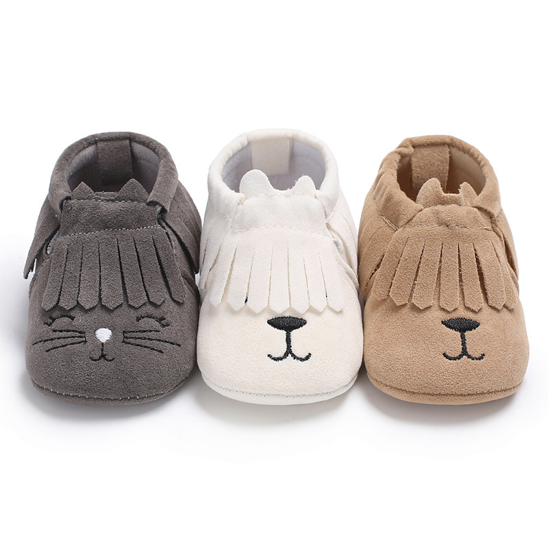 Fashion Hot Newborn Baby Shoes Fringe PU suede leather Baby Moccasins Cute Cartoon animal First Walker Boys Girls Shoes