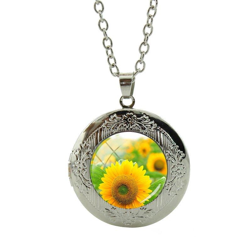 "FLOWER SUNFLOWER LOVE pendant 20/"" Sterling Silver 925 necklace chain female men"