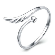 100% 925 sterling silver fashion love angel wings ladies`finger rings jewelry no fade open ring women drop shipping female gift