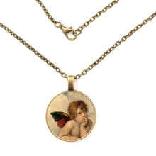 Hot Sale Raphael Sant Necklace Angels of Sistine Madonna Pendant Jewelry Glass Photo Pendant Necklace(China)