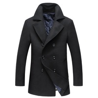 BFSBOYS 2017 New Fashion Brand Clothing Jacket Men Wool Coat Double Breasted Pea Coats Men Long