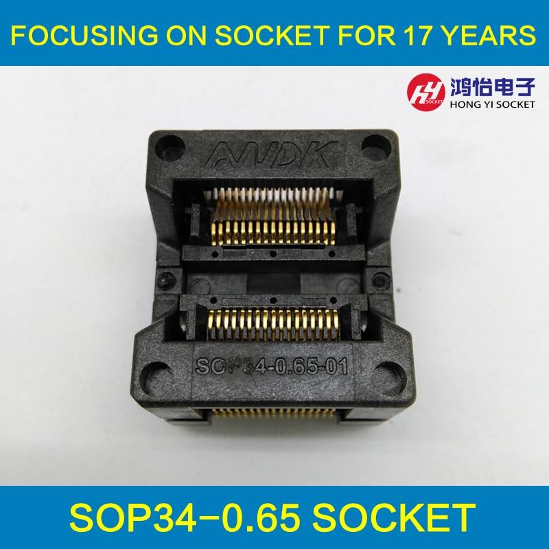 SSOP34 TSSOP34 IC Тесты & Burn in разъем шаг 0,65 мм IC тела Ширина 5,3-5,7 мм 208mil-224mil флэш-адаптер OTS-34-0.65-01