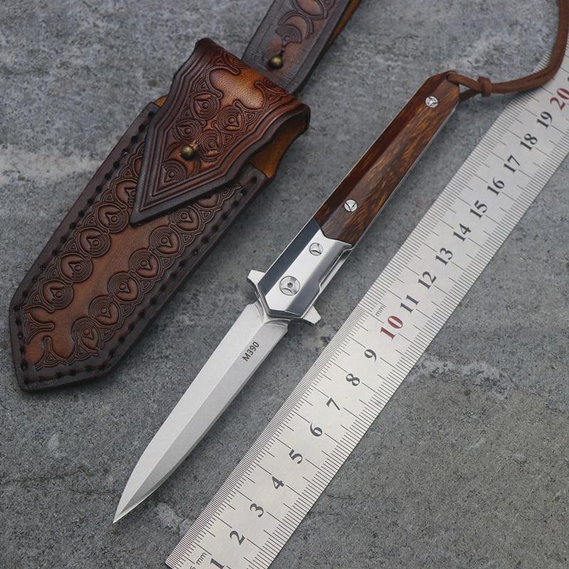 Arthur small sword flip folding ball bearing M390 blade iron wooden handle outdoor camping multi function