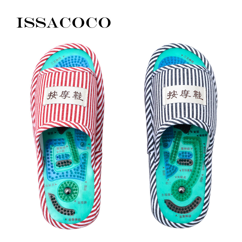 ISSACOCO Men Slippers Men's Blue Stripe Health Care Taichi Acupuncture Foot Massage Slippers With Magnet Men's Massage Slippers