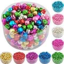 100 шт, золотые, серебряные колокольчики, свободные железные шарики, маленькие, сделай сам, ремесло для фестиваля, вечерние украшения для рождественской елки