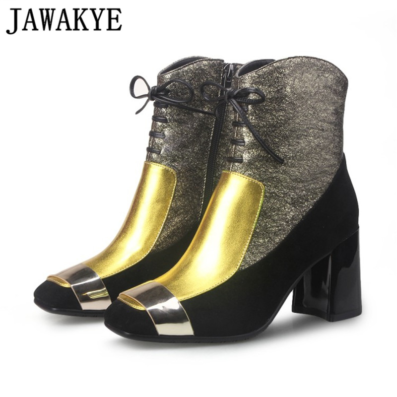 JAWAKYE luxe or Bling 2018 date hiver chaud cheville botte or boucle mixte couleur vrai cuir femmes bottes en peluche chaussures