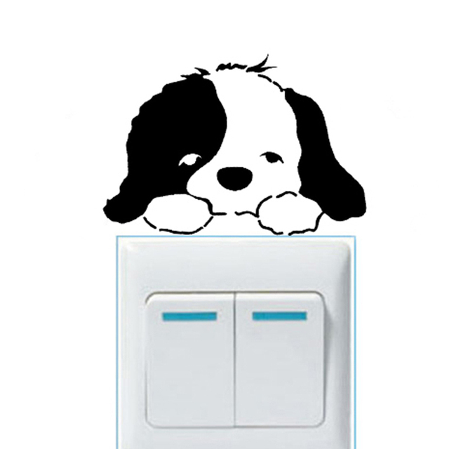 Cartoon Removable Cute Lovely Dog Switch Wall Sticker