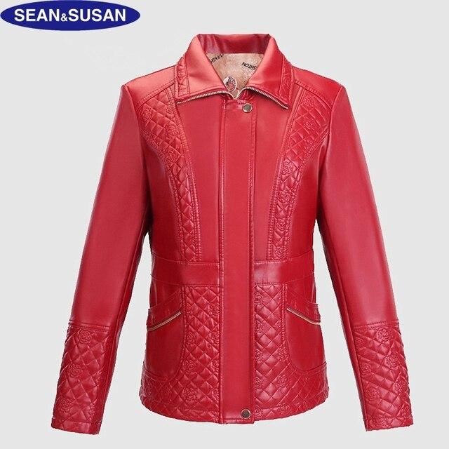 acdf6310c1797 Sean   Susan Skórzane Kurtki Damskie Zimowe Czerwony Bombowiec Biker Jacket  PU Skórzane Płaszcze Kurtka Stanąć