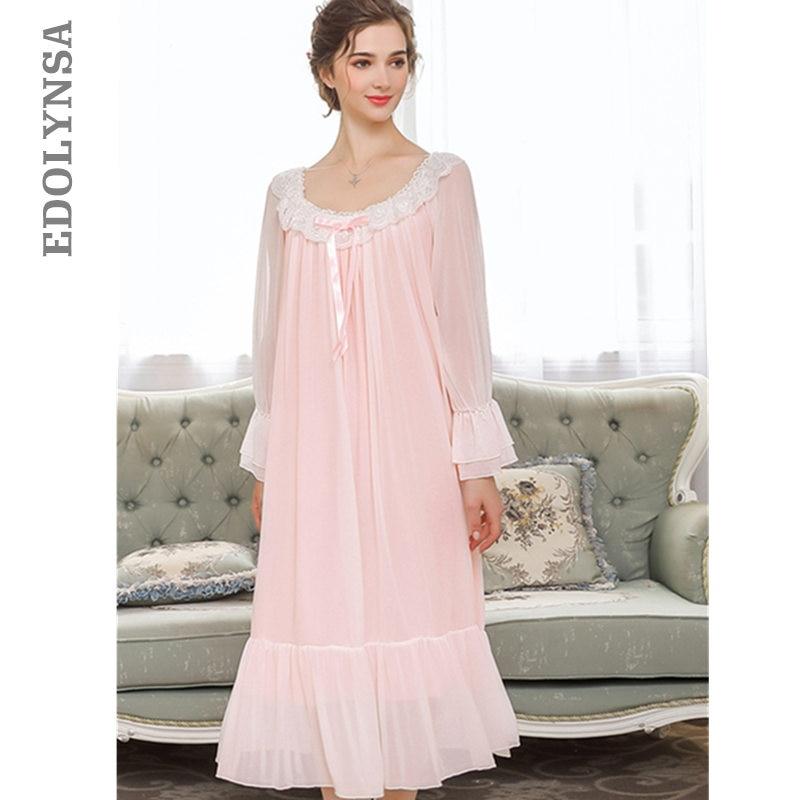 Princess Style Sleepwear For Wedding Women Autumn Pink