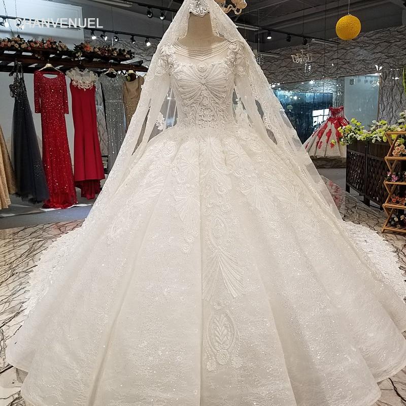 LS35540 Muslim Plus Size Wedding Dress O Neck Long Sleeve