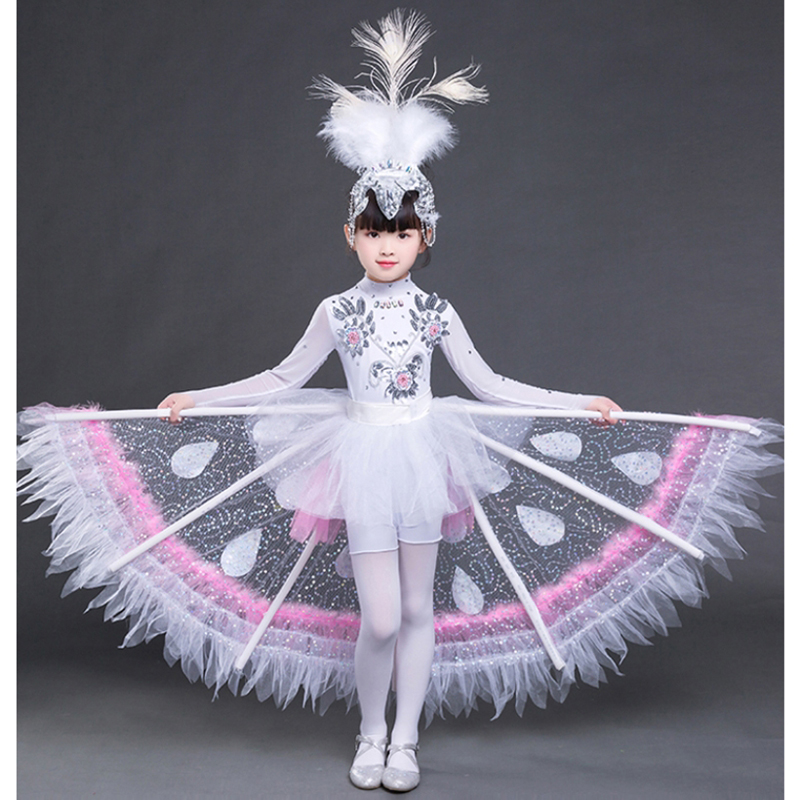 Customizable Dance Costume Children Clothes Dai Nationality Girl Peacock Dance Dress Girl Stage Performance Peacock Show