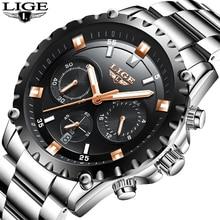 LIGE Uhr Männer Geschäfts Top Marke Luxus Quarzuhr männer Casual Voller Stahl Uhr Wasserdichte Sportuhren Relogio Masculino