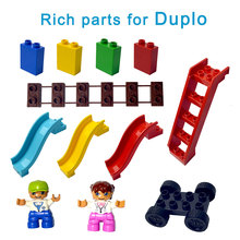 Duploe Tamanho Grande Blocos de Construção DIY bricks Massa Colorida escada Slide ponte figura Brinquedos Para Crianças presente Para legoe duplo designer