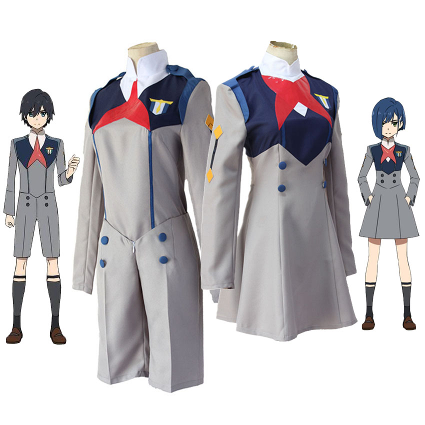 Anime DARLING In The FRANXX Cos HIRO ICHIGO Zero Two MIKU KOKORO School Uniform Cosplay Costume Sets Halloween Suit Outfit