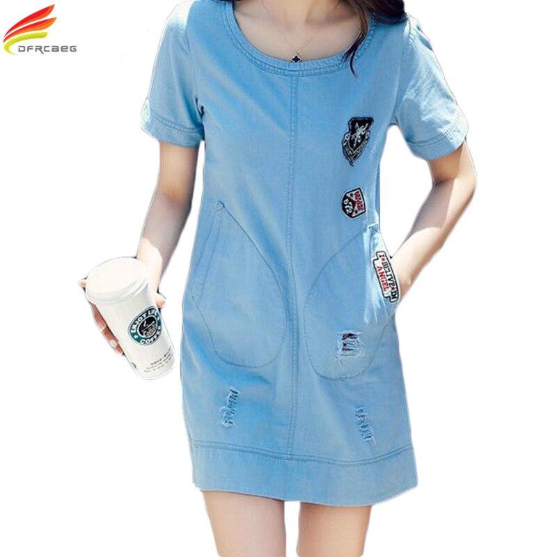 2018 Džínové šaty Ženy Nejnovější Styl Krátký rukáv Modrá Jean Šaty Dámské Double Kapsy Slim Denim Sundress Korean Plus Velikost