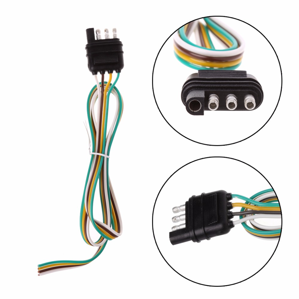 car trailer light wiring harness extension 4 pin plug 18 awg flat wire connector trailer male [ 1000 x 1000 Pixel ]