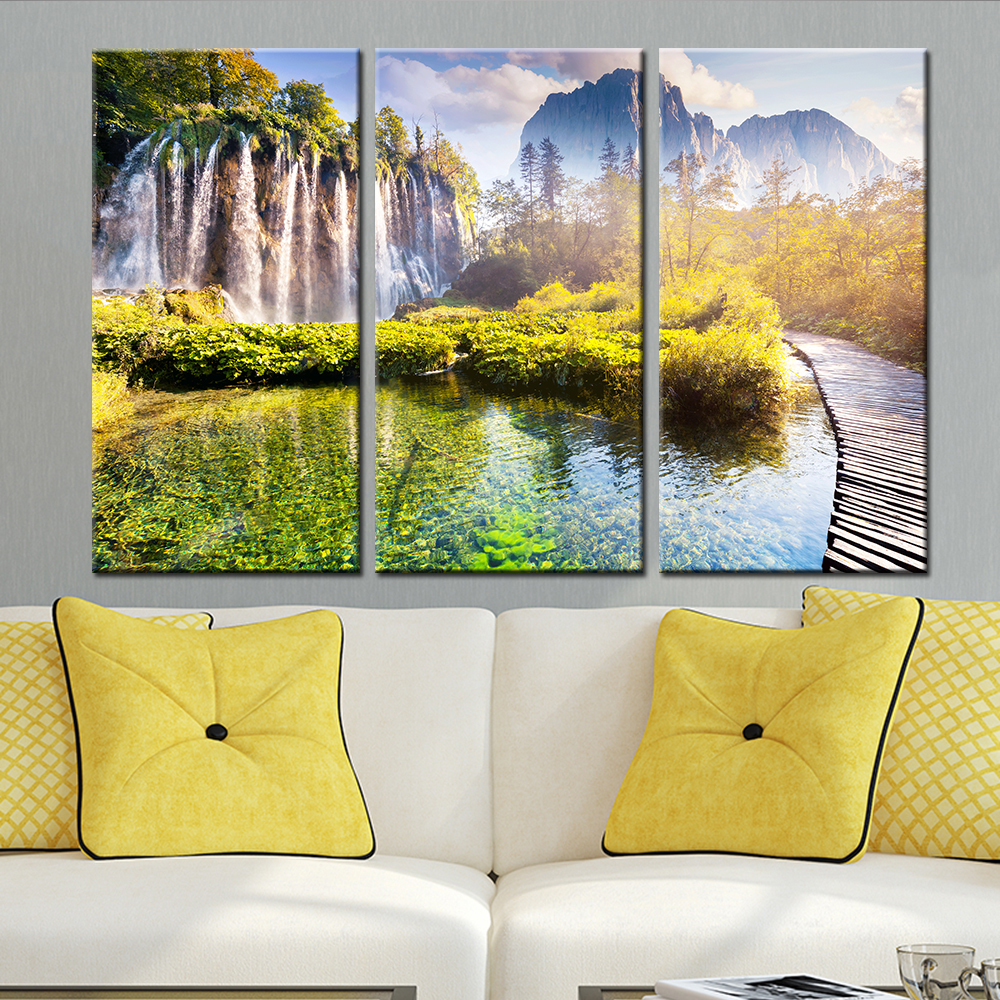 3 Panel Waterfall Tree Print Canvas Wall Art Cuadros Decoration Oil ...