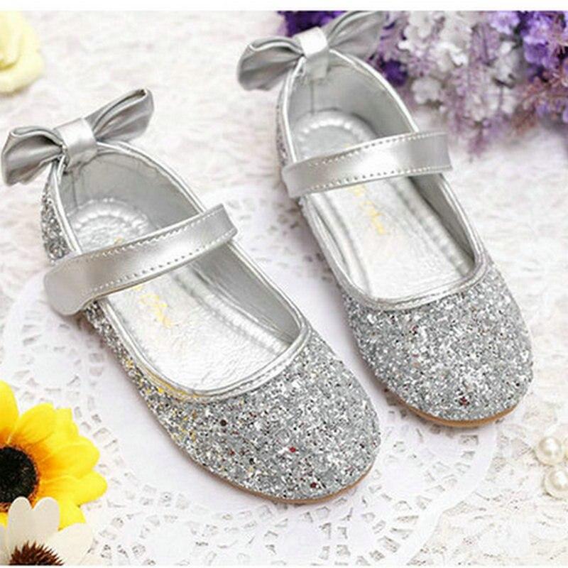 Silver niños niñas zapatos Casual zapatos para niños pisos niños princesa Glitter Zapatos niños niñas zapatos de cuero zapatos de boda