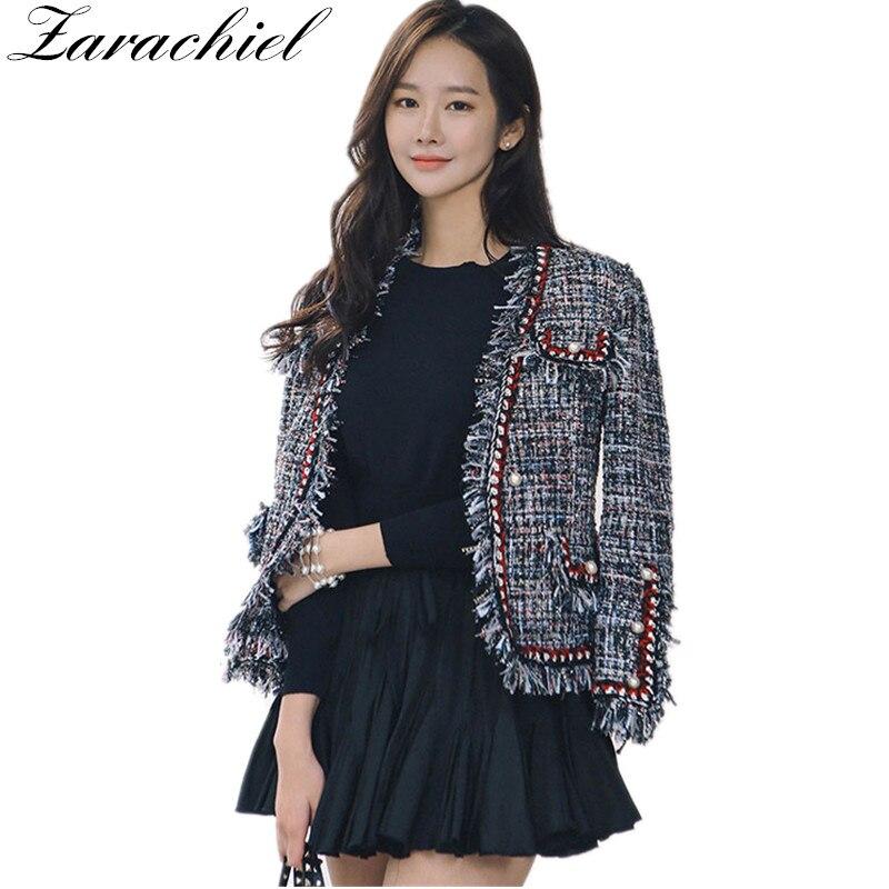 Zarachiel Fashion Runway Tweed Jacket Coat 2019 Autumn Winter Women Fringed Trim Long Sleeves Front Pockets