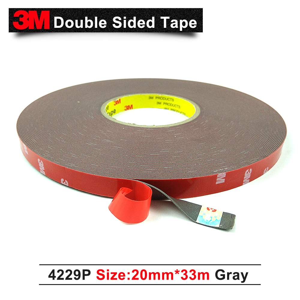 3M 4229P Auto double sided adhesive foam acrylic tape 20mm*33M*0.8mm thickness/grey color Pressure sensitive adhesive tape 5pcs 1piece 3m vhb 5952 heavy duty double sided adhesive acrylic foam tape black 150mmx100mmx1 1mm