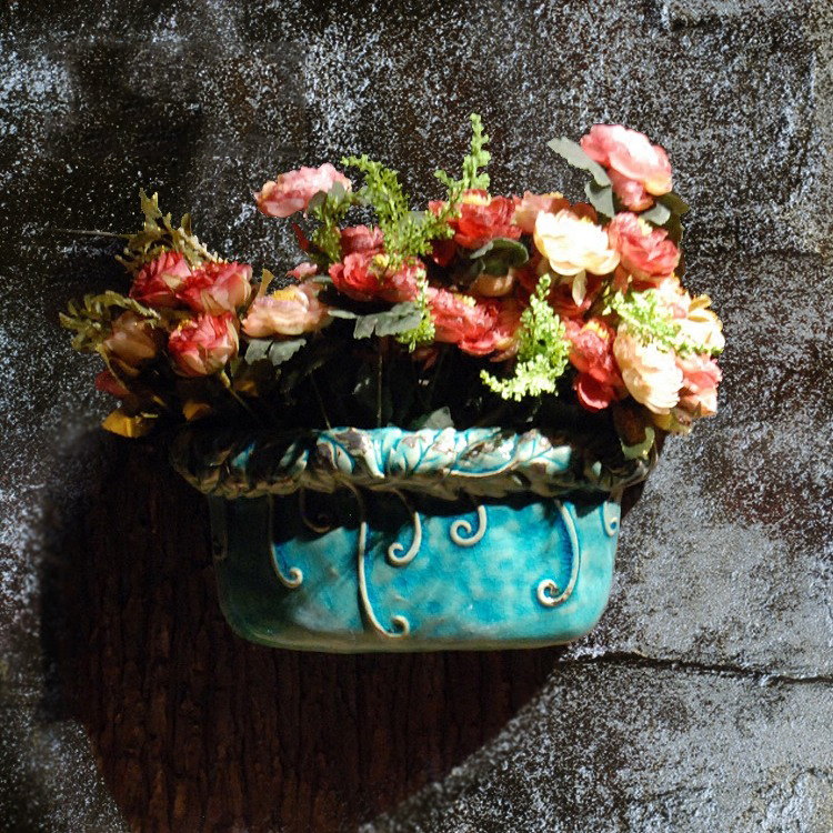 Creative garden ceramic wall hanging flower pot wall hanging decoration home background wall decoration club coffee shop hanging(China)