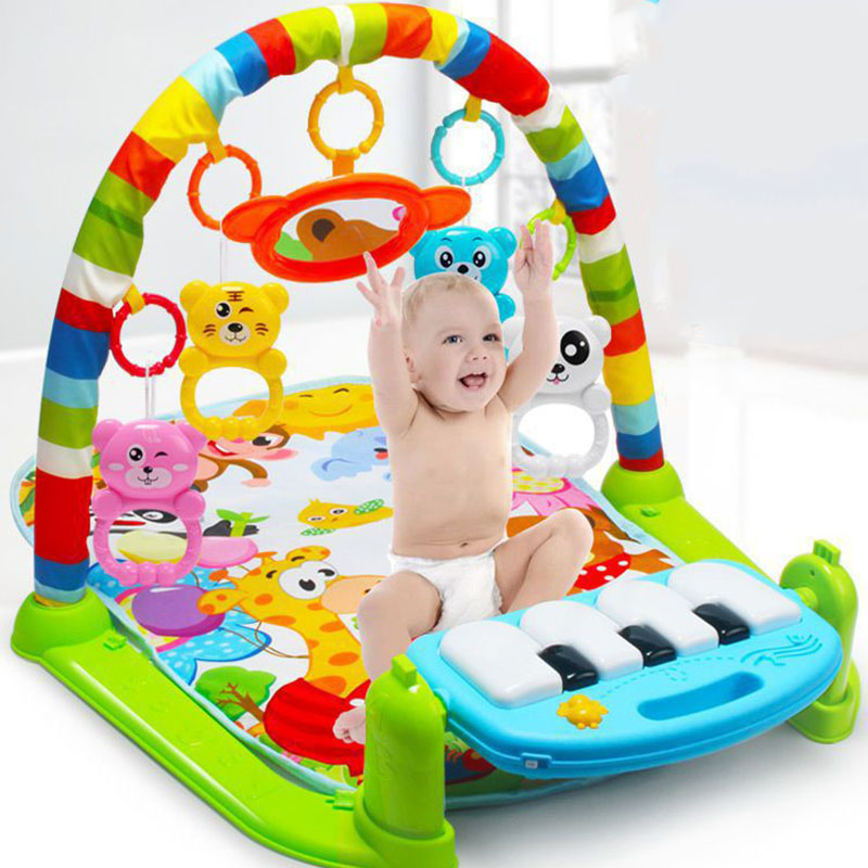 New 3 In 1 Multifunction Soft Baby Play Activity Piano Pedal Fitness Frame Music Bed Bell Pay Gym Toy Floor Crawl Blanket