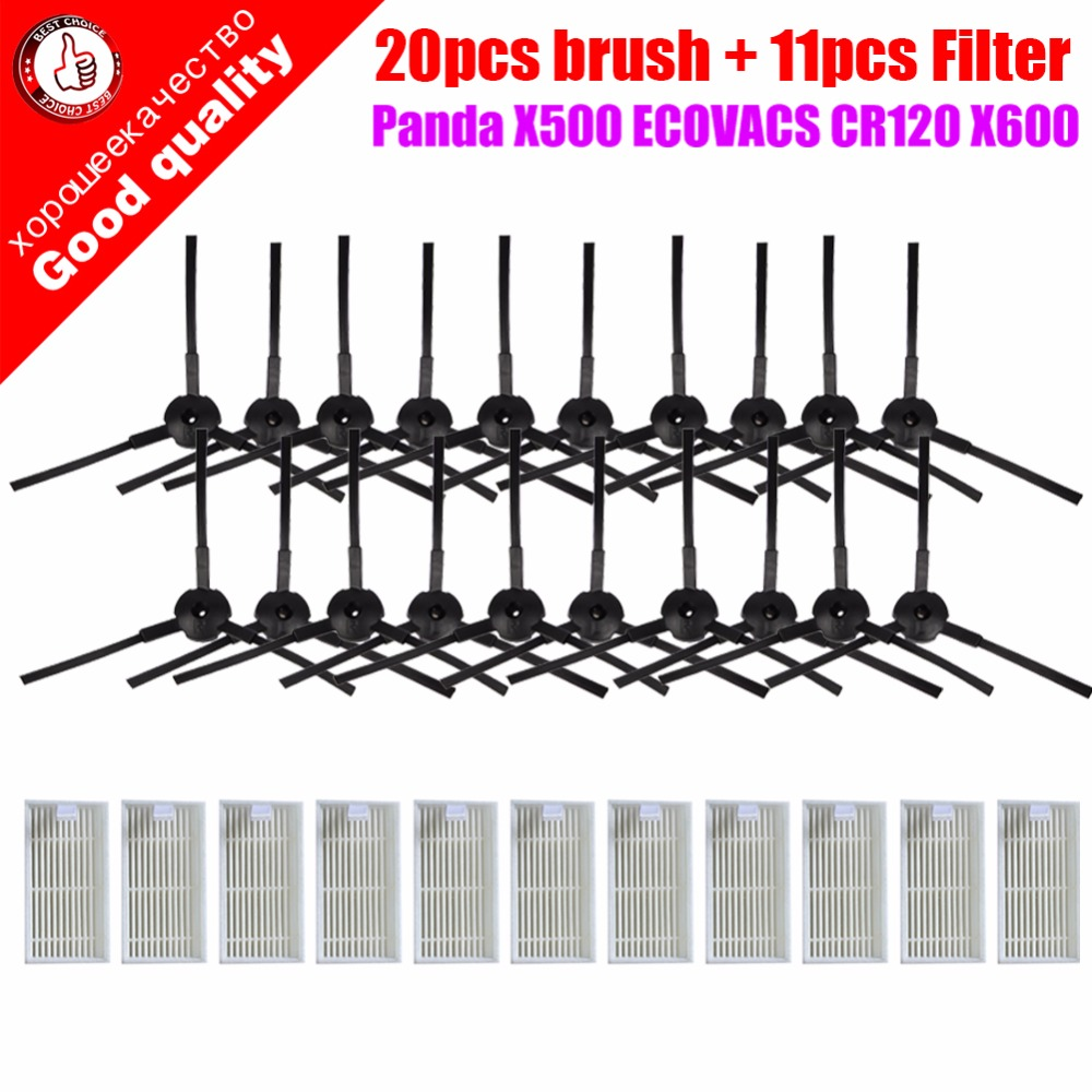 31pcs/lot 20pcs side brush(10 pair)+11pcs HEPA filters bursh for ecovacs CR120 X500 X600 panda X500 filter Promaster Robot 2712(China)