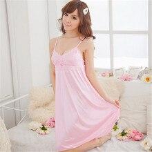 Fashion Women Clothes Suspender Night Deep V Silk Nightgowns Sleepwear Sleepshirts Robes Y8664
