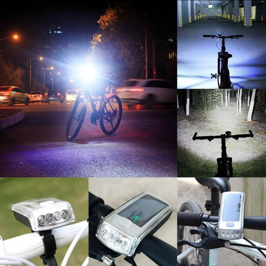 Bicycle 4 LED Solar Powered USB Rechargeable Front Light+Tail Light Lamp Safety Bright Light Bike Handlebar Mount Adjustable P60 handlebar mount bicycle