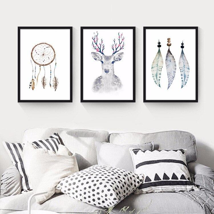 pluma ciervos arte de la lona moderna pinturas de arte para imprimir cuadros de la pared