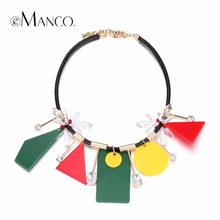 eManco Trendy Mixed Colour Geometric Chokers Necklace & Pendants for Women Charms Crystal Leather Cord Brass Brand Jewelry(China)