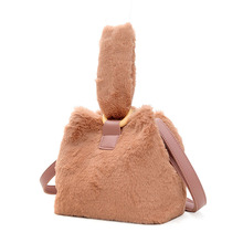 цена на 2019 New Flannel Bucket Women High Capacity Furry Totes Fashion Cheap Handbag And Shoulder Party Bag Girls Factory Direct Sale