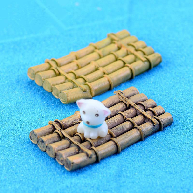 Wholesale 10Pcs/Lot Kawaii Decoden Crafts Decorations Miniature Bamboo Raft Gnome Terrarium Xmas Party Garden Gift K6626