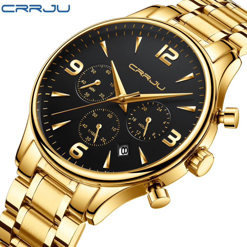 CRRJU 2018 New Multi-function Six-pin Chronograph Watch For Man Army Soldiers Stainless Steel Band Wrist Watch Male Quartz Clock iron man digital led steel band digital quartz wrist watch for man